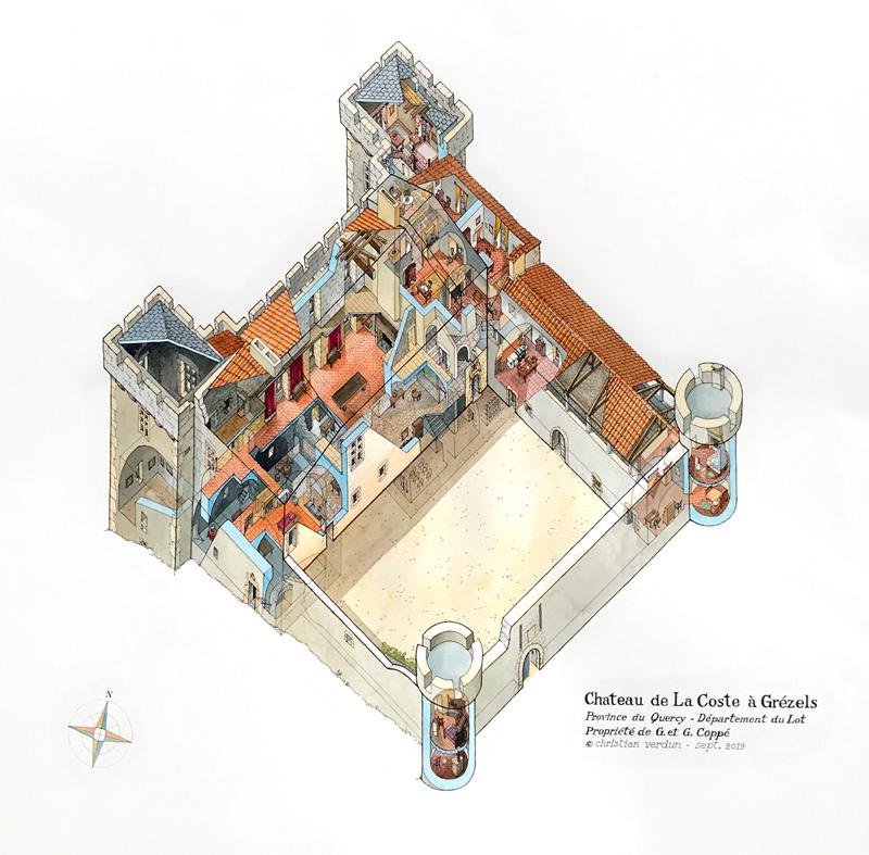 Chateau de Grezels en vue eclatee