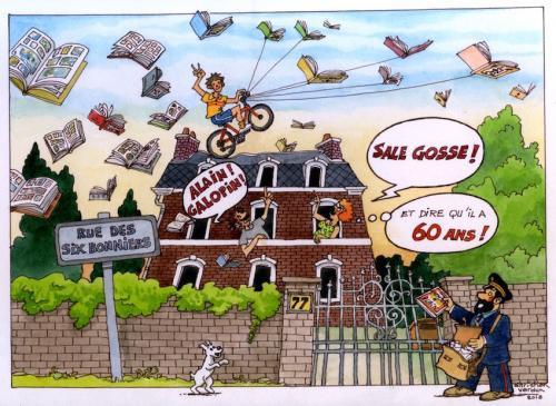 Illustration pour un anniversaire d'un « Félé « belge de BD