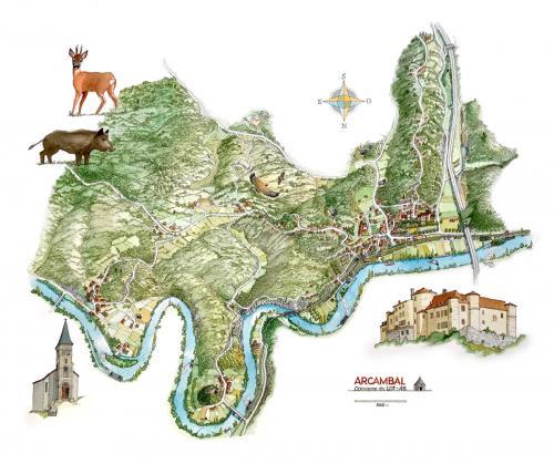 Vue aérienne de la commune Arcambal